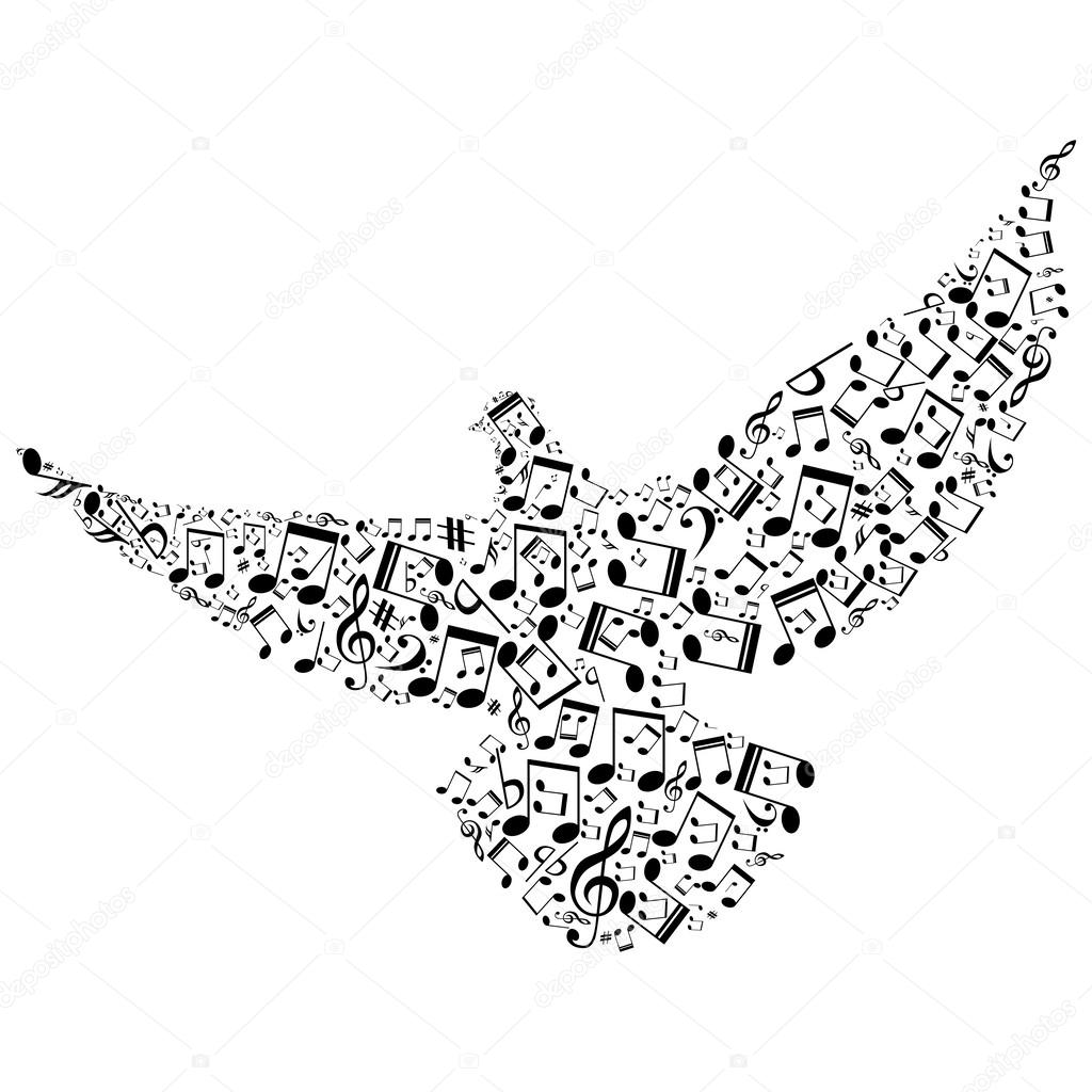 Bird with smaller musical notes