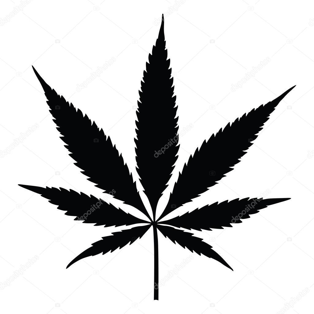 Vector cannabis leaf silhouette. Marijuana.