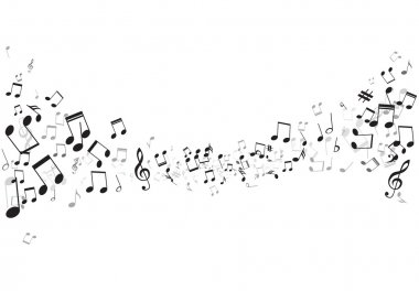 Various music notes on stave, vector illustration stock vector