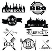 Fotografie Set of bbq icons isolated on white background, vector