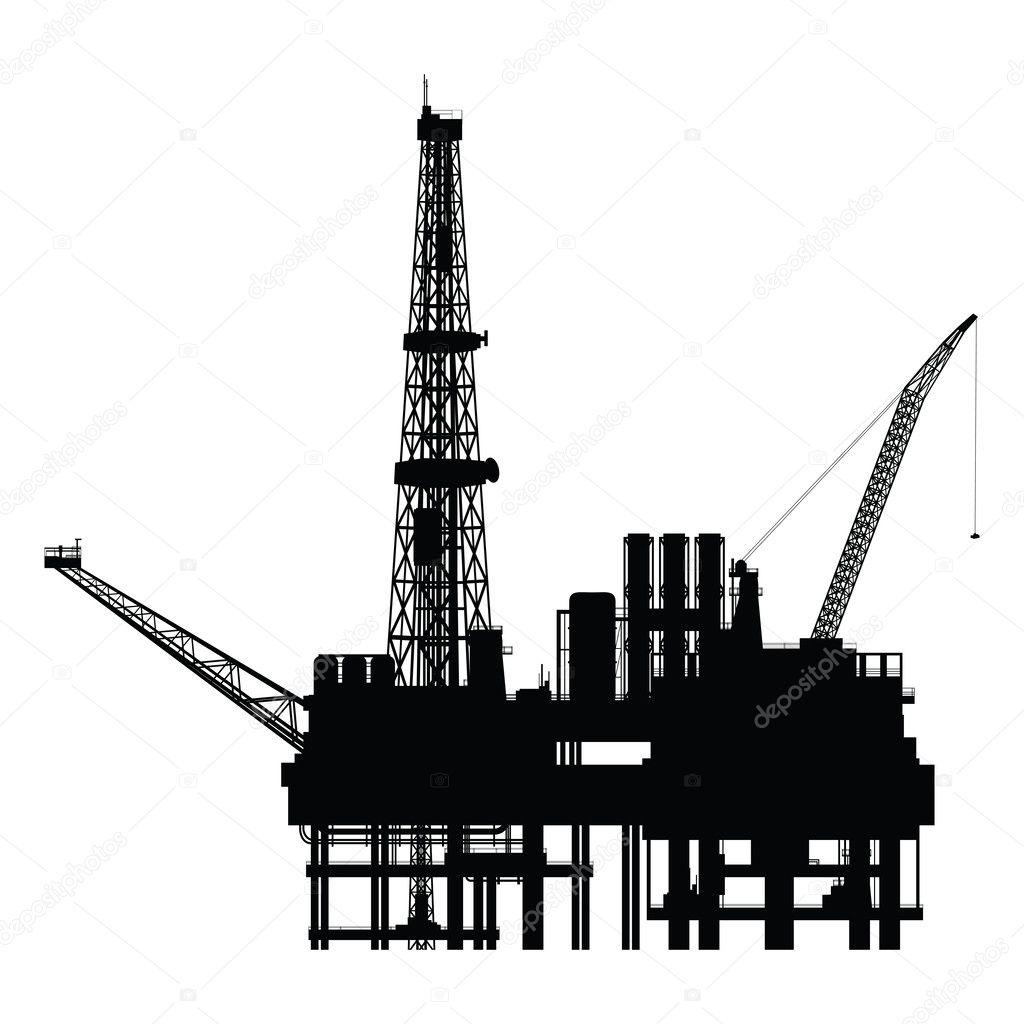 Silhouette of oil platform, vector