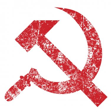 Grunge hammer and sickle isolated on white background, vector