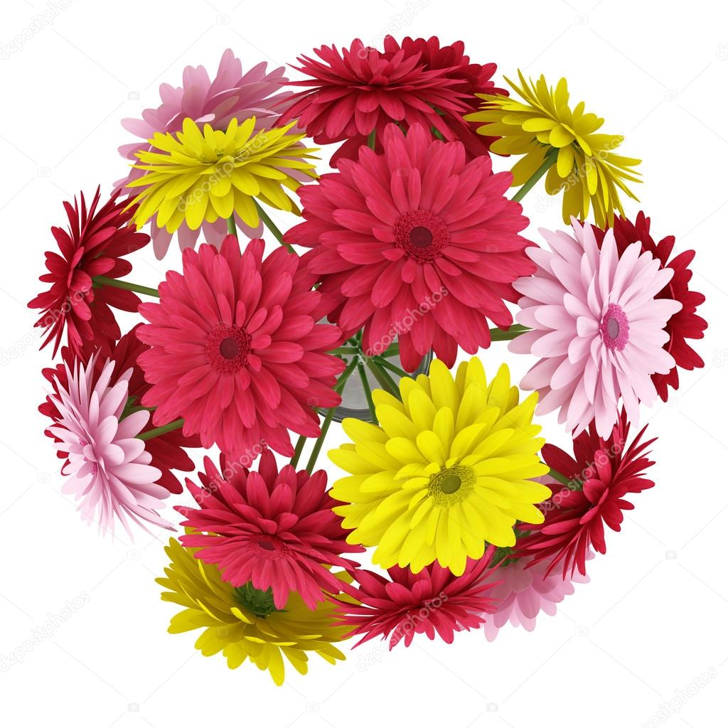 Top View Bouquet Of Yellow Red And Pink Flowers Isolated On White