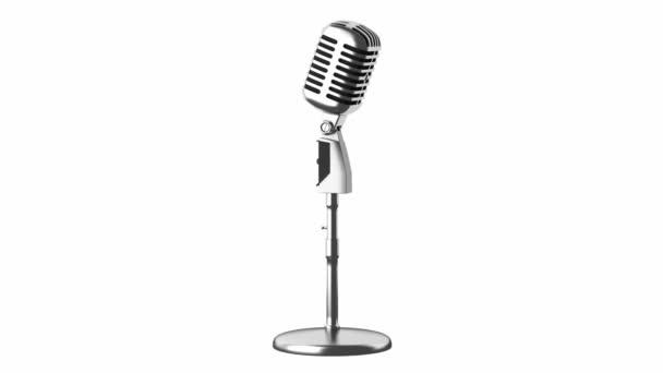 Vintage mikrofon hurok forgatás, fehér háttér