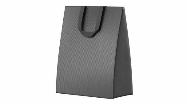 einzelne leere graue Einkaufstasche Schlaufe drehen auf weißem Hintergrund