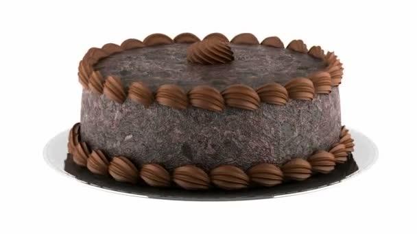 kolo čokoládový dort smyčka otočit na bílém pozadí