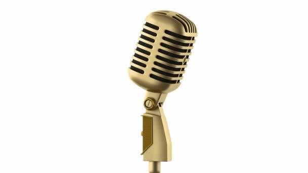 arany vintage mikrofon hurok forgatás, fehér háttér
