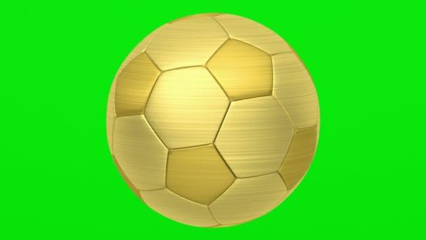 goldene Fußballschlaufe auf grünem Chromakey-Hintergrund