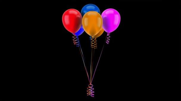 vícebarevné nafukovacích balónků s stuhy smyčky otočit na černém pozadí