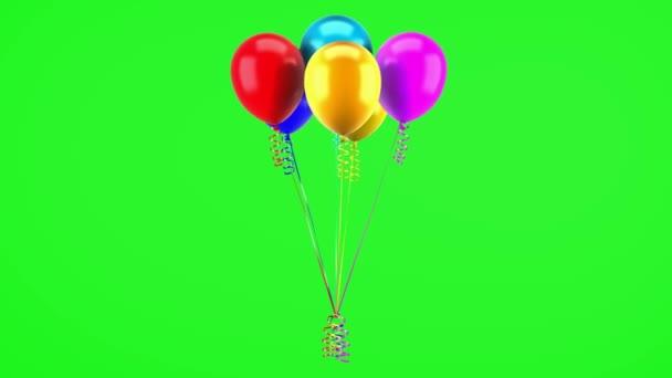 vícebarevné nafukovacích balónků s stuhy smyčky otočit na pozadí zelených chromakey