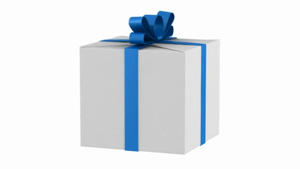 gift box with blue ribbon and bow loop rotate on white background