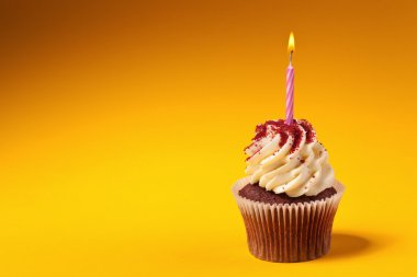 chocolate cupcake with candle isolated on orange background with