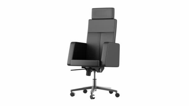moderne schwarze Büro Stuhl Schleife drehen auf weißem Hintergrund