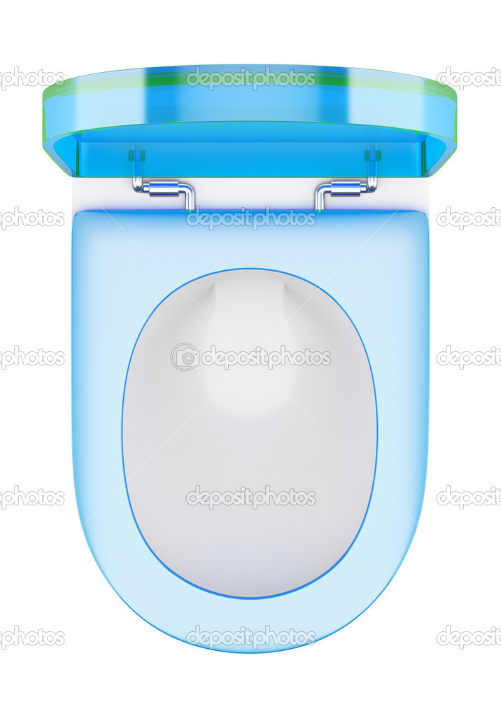 top view of modern toilet bowl with blue cover isolated on white