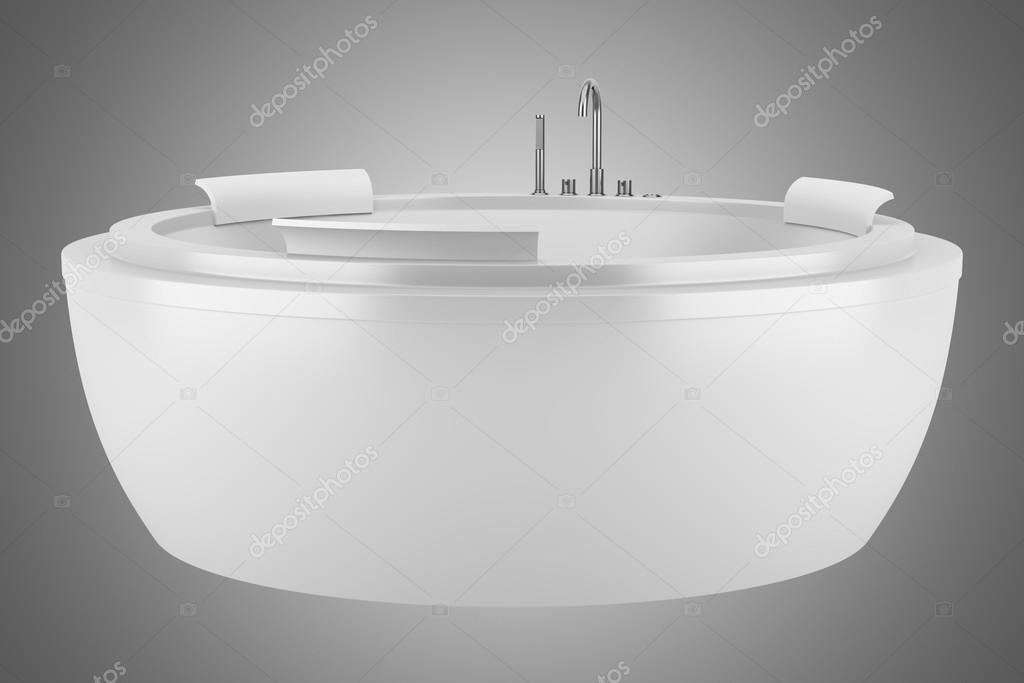 moderna vasca da bagno rotonda isolato su sfondo grigio — Foto Stock ...