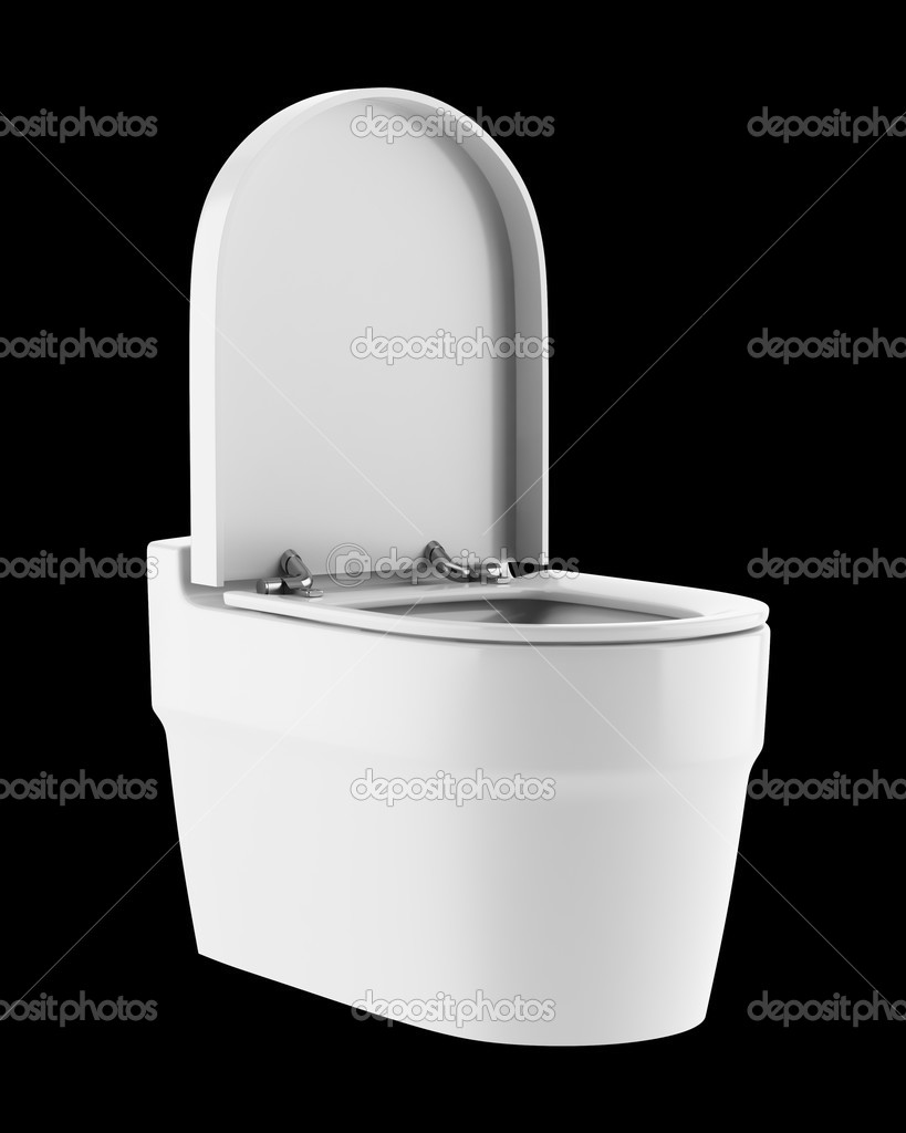 single modern toilet bowl isolated on black background — stock  - single modern toilet bowl isolated on black background — stock photo