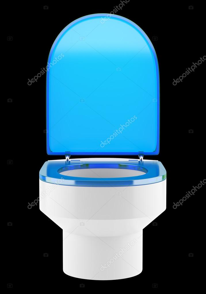 Wondrous Single Modern Toilet Bowl With Blue Cover Isolated On Black Ncnpc Chair Design For Home Ncnpcorg