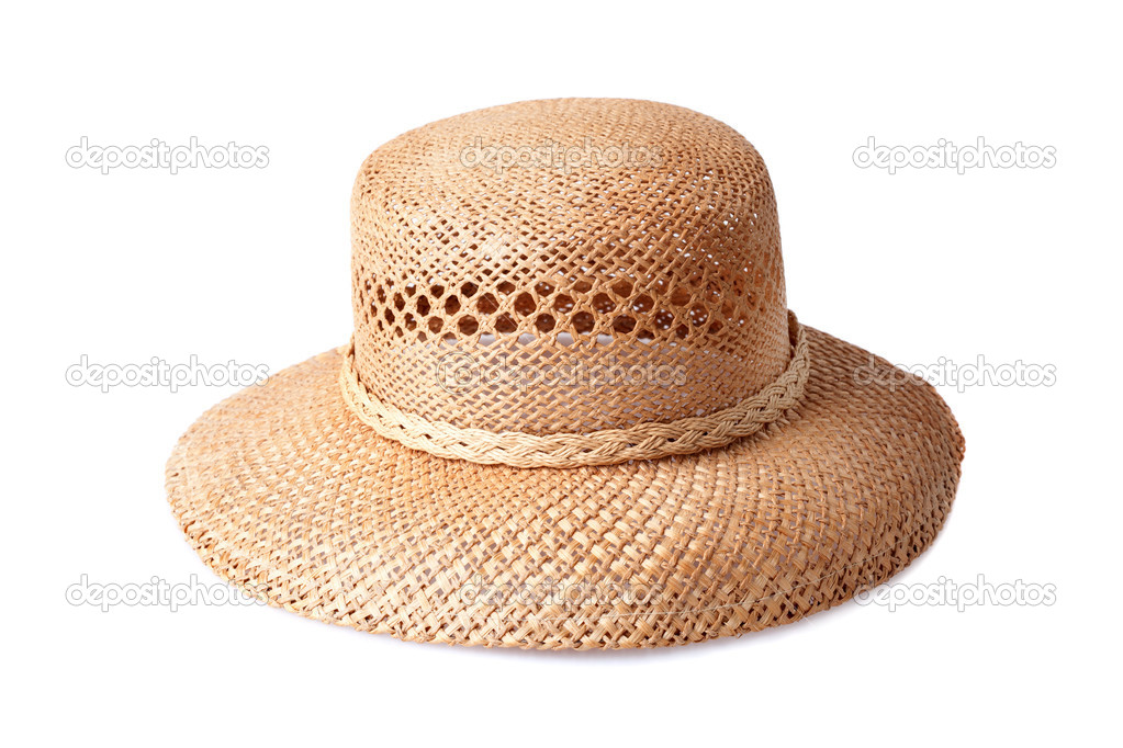 ebf97e2536 Παπόυτσια γυναικεία καλοκαιρινά άχυρο καπέλο που απομονώνονται σε λευκό  φόντο — Εικόνα από ...