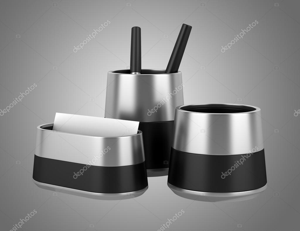 Accessori Per Scrivania Ufficio : Accessori per scrivania ufficio isolati su sfondo grigio u2014 foto