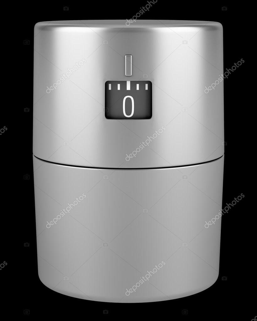 timer da cucina metallico moderno singolo isolato su sfondo nero ...