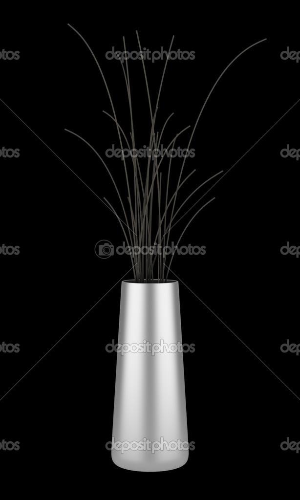 Single Chrome Vase With Dry Wood Isolated On Black Background