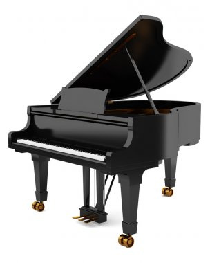 black grand piano isolated on white background