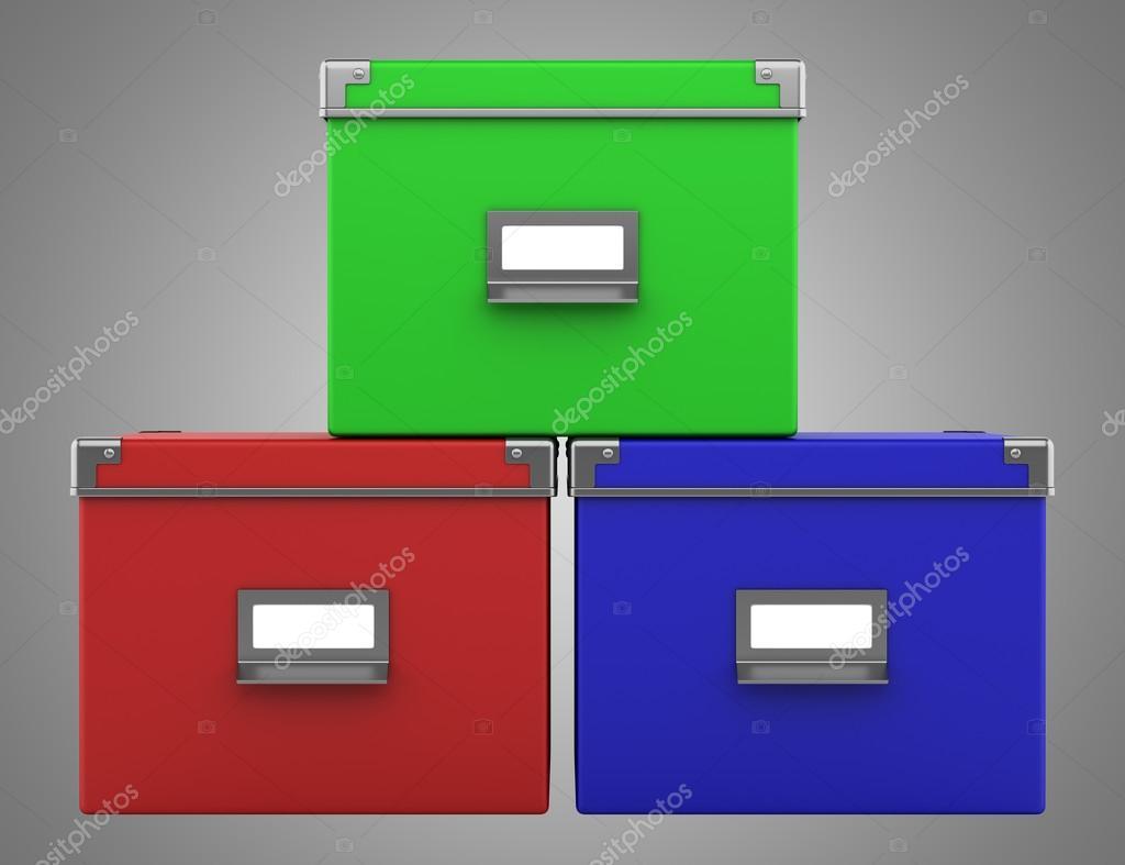 Drie kleur office kartonnen dozen geïsoleerd op grijze achtergrond