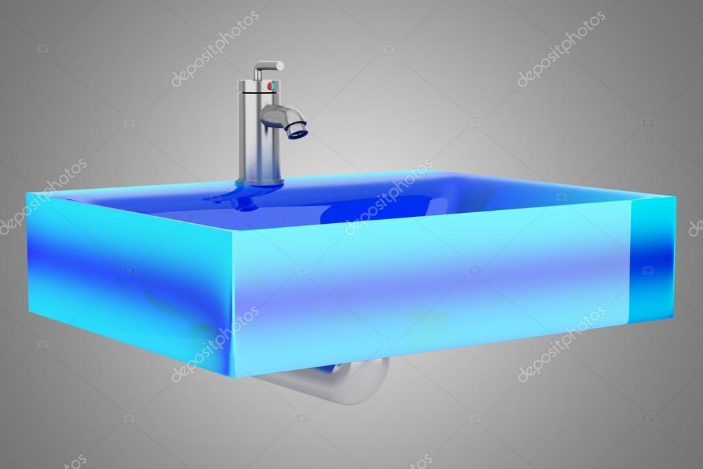 Bagno moderno con le mattonelle e la lavatrice blu immagine stock