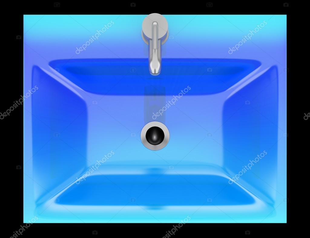 Vue de dessus d\'évier de salle de bain moderne verre bleu ...