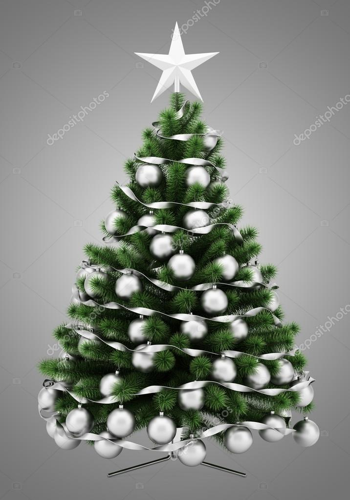 Arbol Navidad Gris Arbol De Navidad Decorado Aislado Sobre Fondo - Arbol-de-navidad-decorado