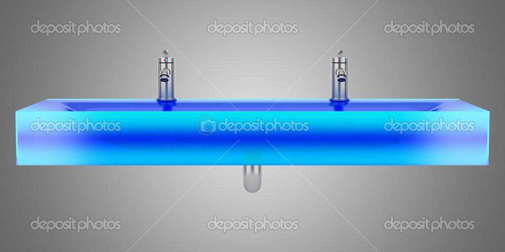 Moderne Blau Glas Doppel Badezimmer Waschbecken Isoliert Grau TERGRU U2014  Stockfoto