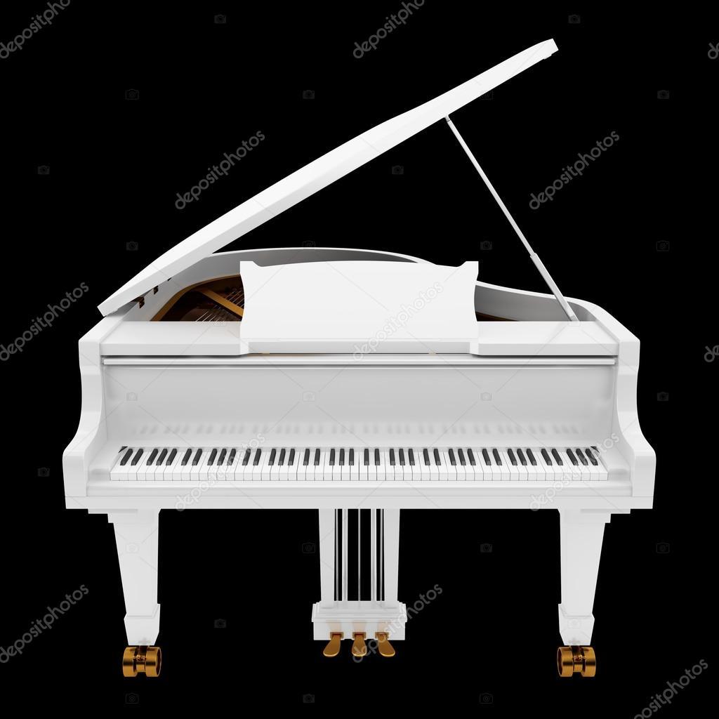 Piano Queue Blanche Isol E Sur Fond Noir Photographie Tiler84