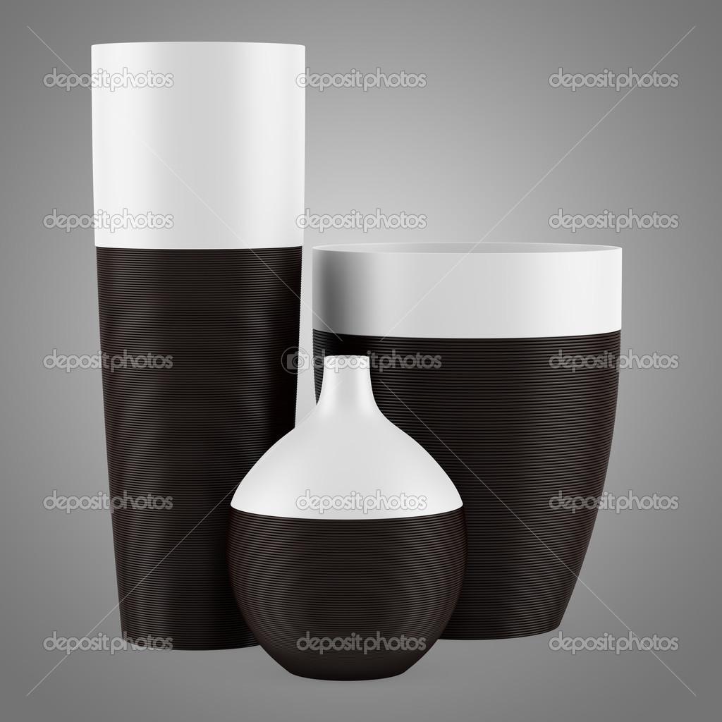 Three ceramic vases isolated on gray background stock photo three ceramic vases isolated on gray background stock photo reviewsmspy