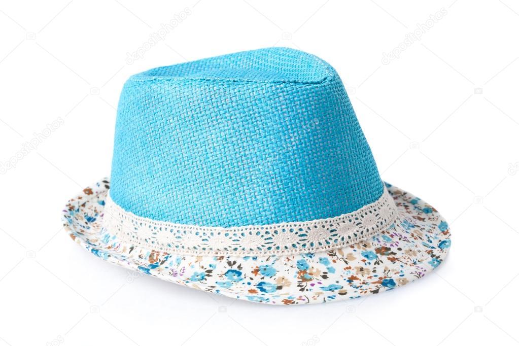 kék nyári női szalma kalap elszigetelt fehér background — Stock Fotó ... f0f5b08416
