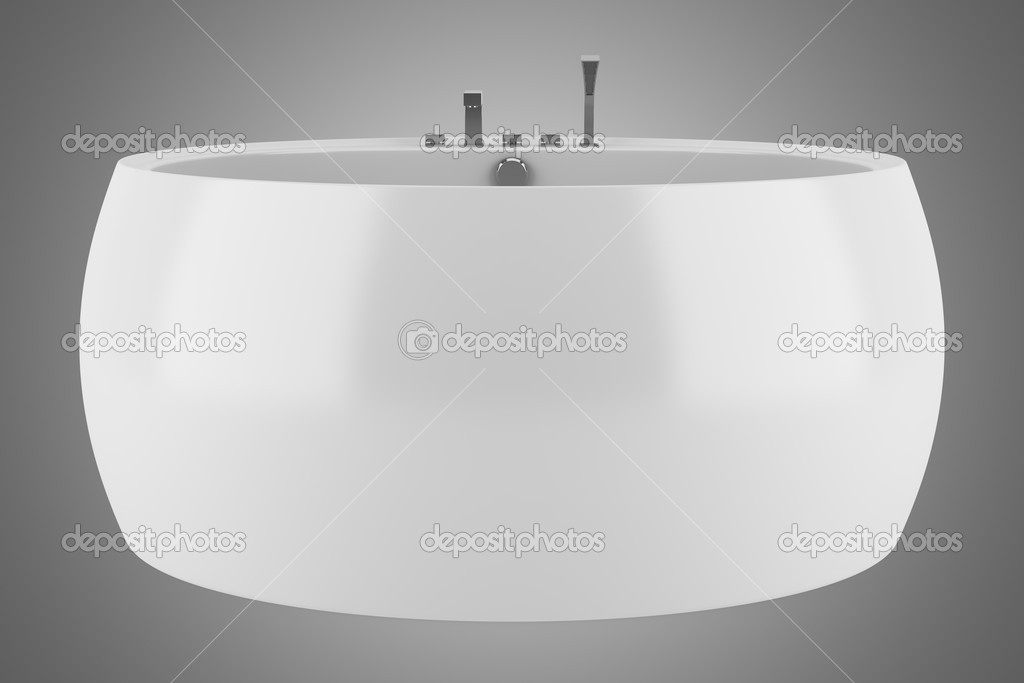 Moderna vasca da bagno rotonda isolato su sfondo grigio u foto