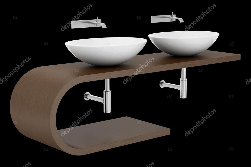 Lavandino bagno moderno isolato su sfondo nero u2014 foto stock