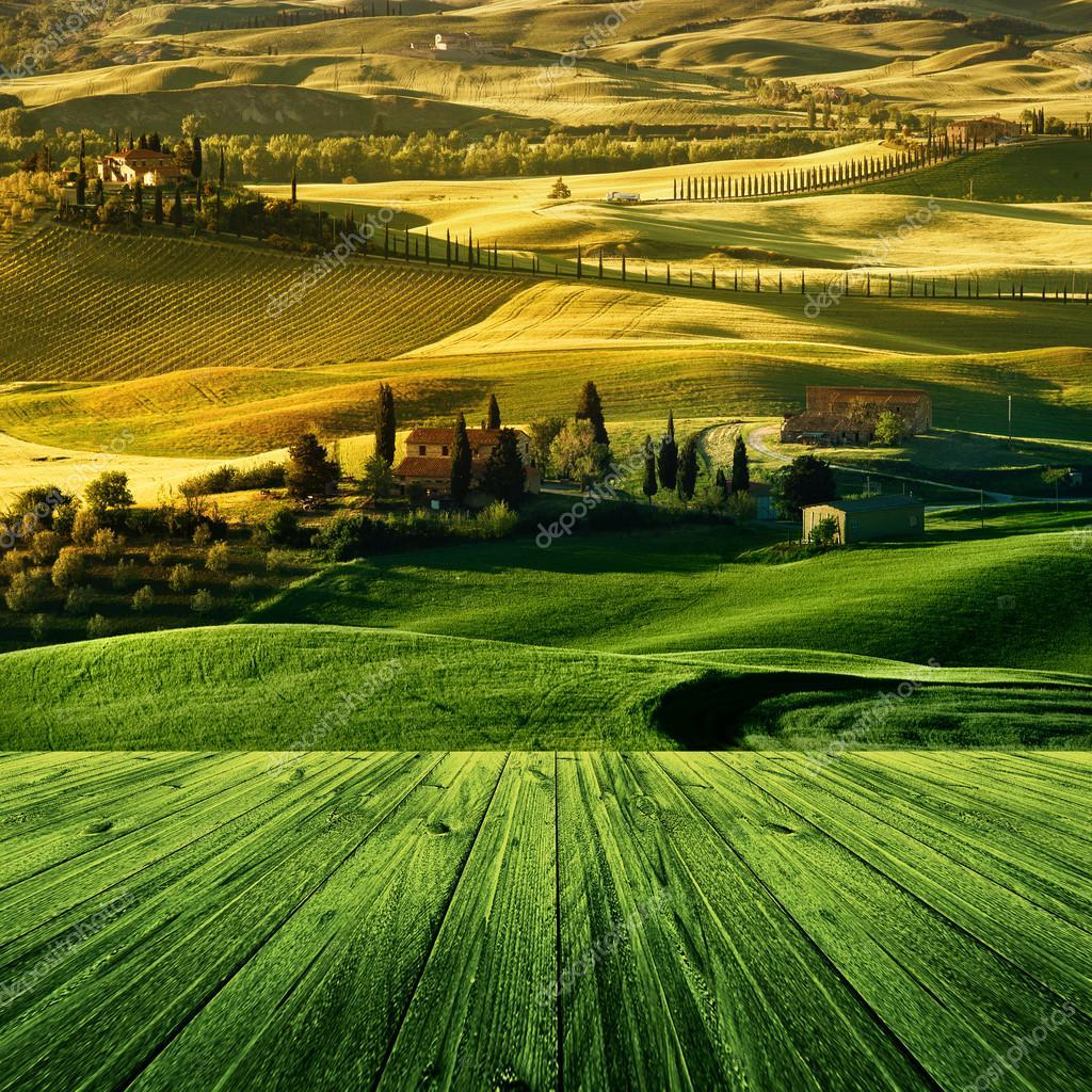 Фотообои Landscape in Tuscany with wood floor