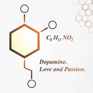 Dopamine molecule. Love and passion concept