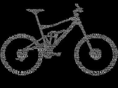 Silhouette of mountain bike in words