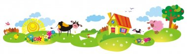 Cartoon village background with cow and color house