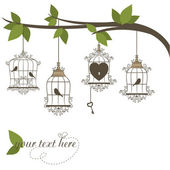 Fotografia uccelli in gabbia. illustrazione vettoriale del tema San Valentino