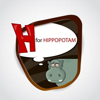 The English alphabet of animal theme. H for Hippopotam. Vector illustration