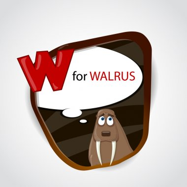 The English alphabet of animal theme. W for Walrus. Vector illustration