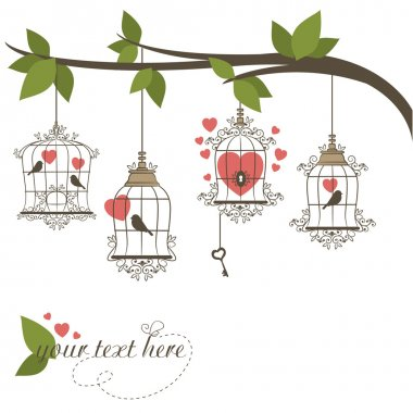 Birds in a cage. Vector illustration of Valentines theme