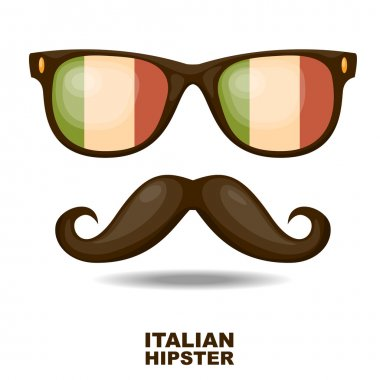 Sunglasses and moustaches. Italian flag. Vector illustration