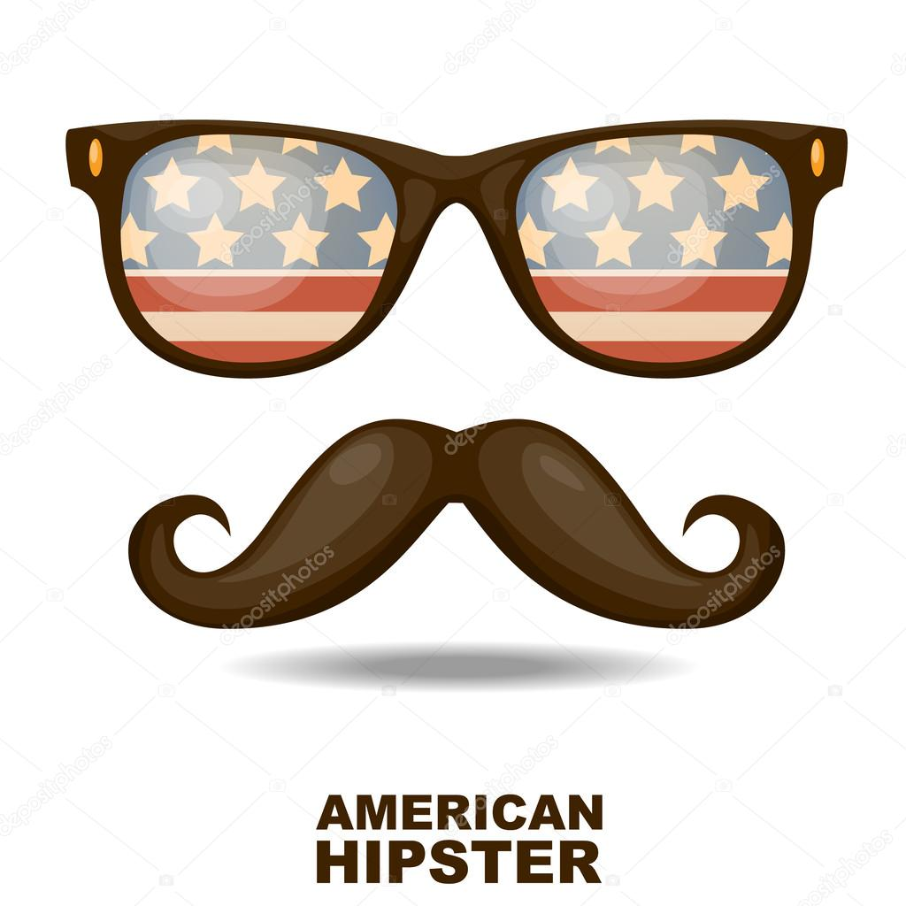 Sunglasses and mustaches. American flag. Vector illustration