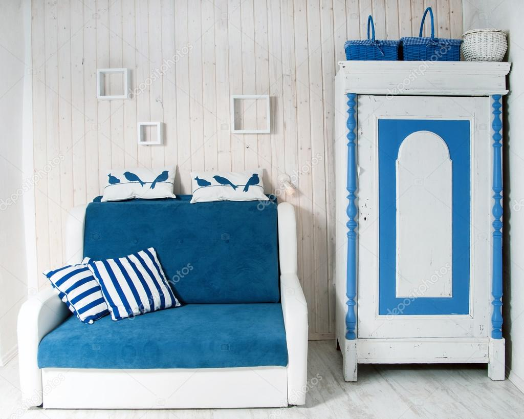 blauw-wit interieur — Stockfoto © silaped #49286797
