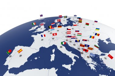3d render of Europe map with countries flags stock vector