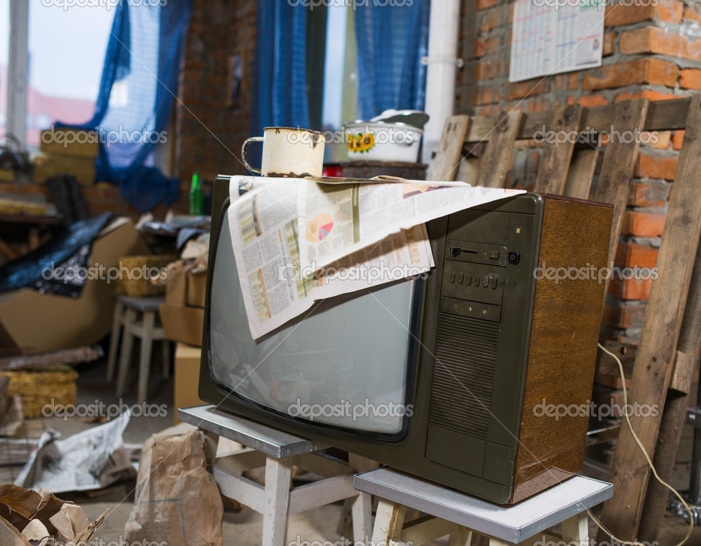 chambre vintage avec tv rétro — Stockfoto © baburkina #48698477