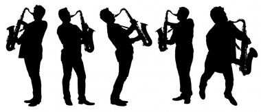Silhouettes saxophonist with a saxophone
